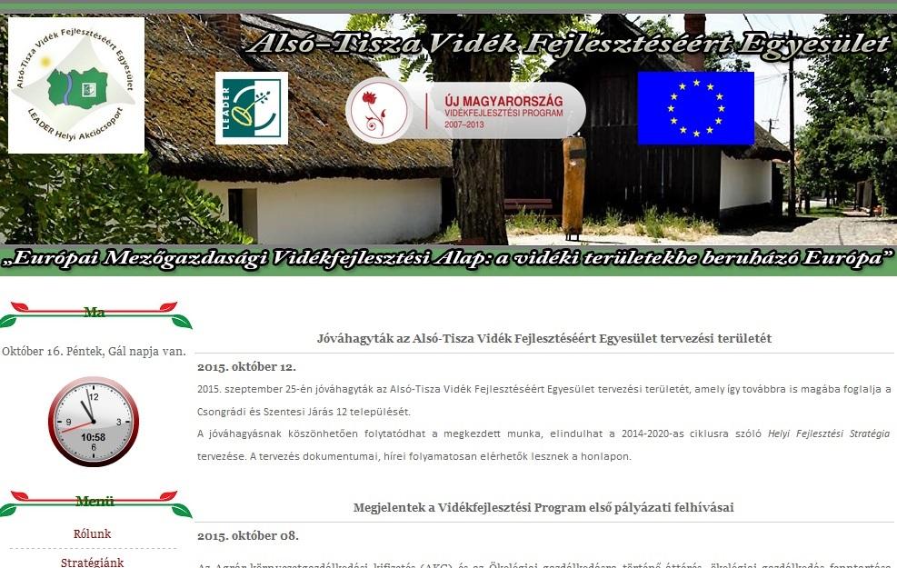 Jóváhagyták az Alsó-Tisza Vidék Fejlesztéséért Egyesület tervezési területét