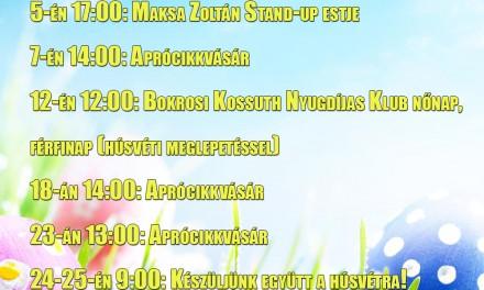 Bokrosi Művelődési Ház 2016. márciusi programjai