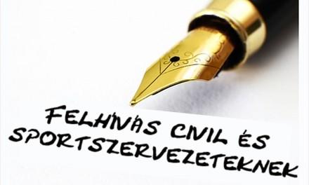 Felhívás civil és sportszervezeteknek