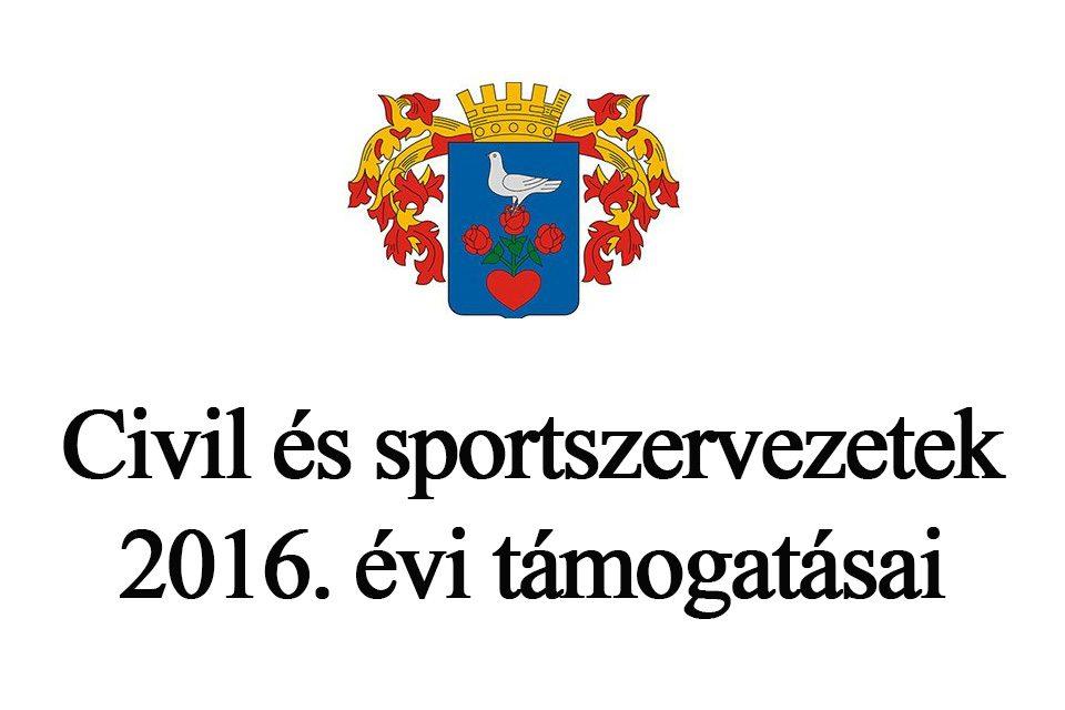 Csongrádon működő civil és sportszervezetek 2016. évi támogatásai