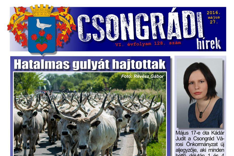 Letölthető a Csongrádi Hírek legújabb, május 27-én megjelenő (128.) száma