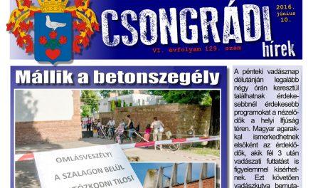 Letölthető a Csongrádi Hírek legújabb (129.) száma