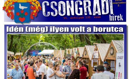 Letölthető a Csongrádi Hírek legújabb, szeptember 2-án megjelenő (135.) száma