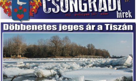 Megtekinthető a Csongrádi Hírek legújabb, február 17-én megjelenő (147.) száma