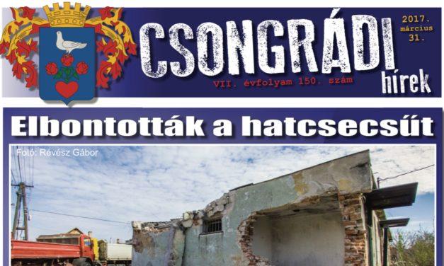Megtekinthető a Csongrádi Hírek legújabb, március 31-én megjelenő (150.) száma
