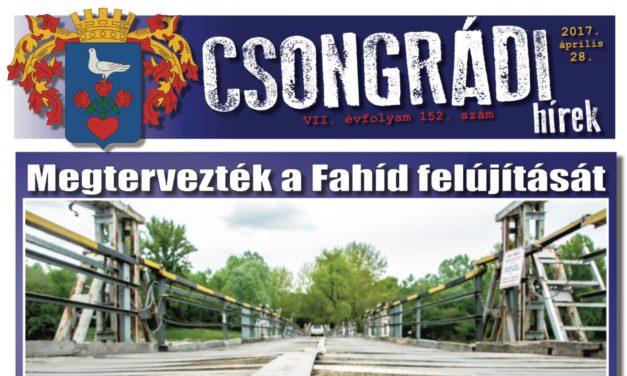 Megtekinthető a Csongrádi Hírek legújabb, április 28-án megjelenő (152.) száma