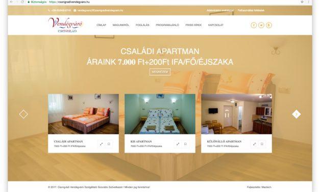 Elkészült a Csongrádi Vendégváró Apartmanok honlapja