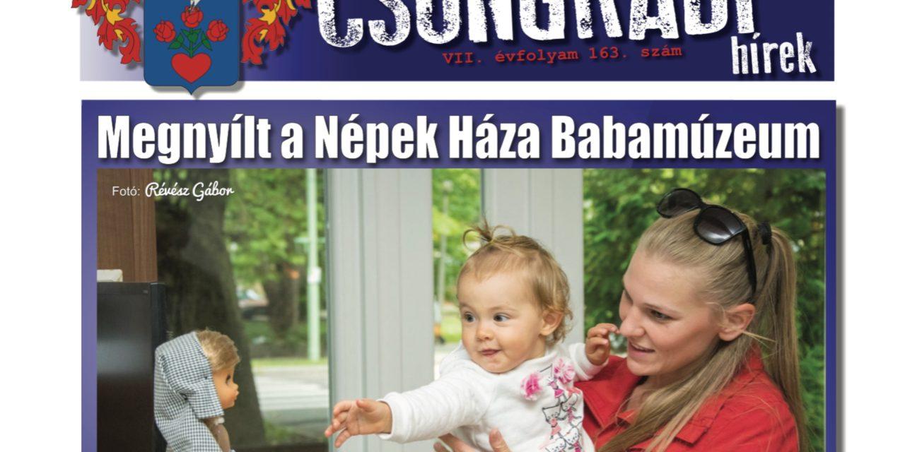 Megtekinthető a Csongrádi Hírek legújabb, szeptember 29-én megjelenő (163.) száma