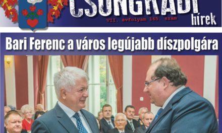 Megtekinthető a Csongrádi Hírek legújabb, október 27-én megjelenő (165.) száma