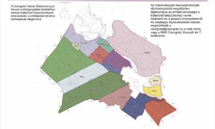 Az Önkormányzat által tervezett külterületi tanyás településrészek elnevezése
