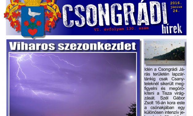 Letölthető a Csongrádi Hírek legújabb (130.) száma