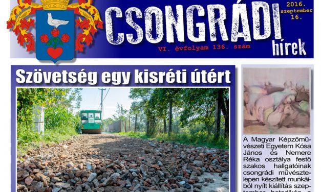 Letölthető a Csongrádi Hírek legújabb, szeptember 16-án megjelenő (136.) száma