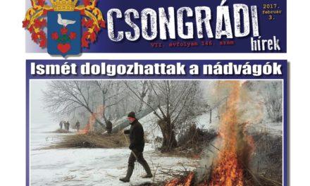 Megtekinthető a Csongrádi Hírek legújabb, február 3-án megjelenő (146.) száma