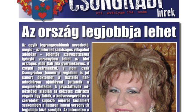 Megtekinthető a Csongrádi Hírek legújabb, május 26-án megjelenő (154.) száma