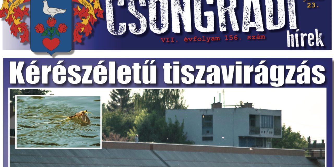 Megtekinthető a Csongrádi Hírek legújabb, június 23-án megjelenő (156.) száma