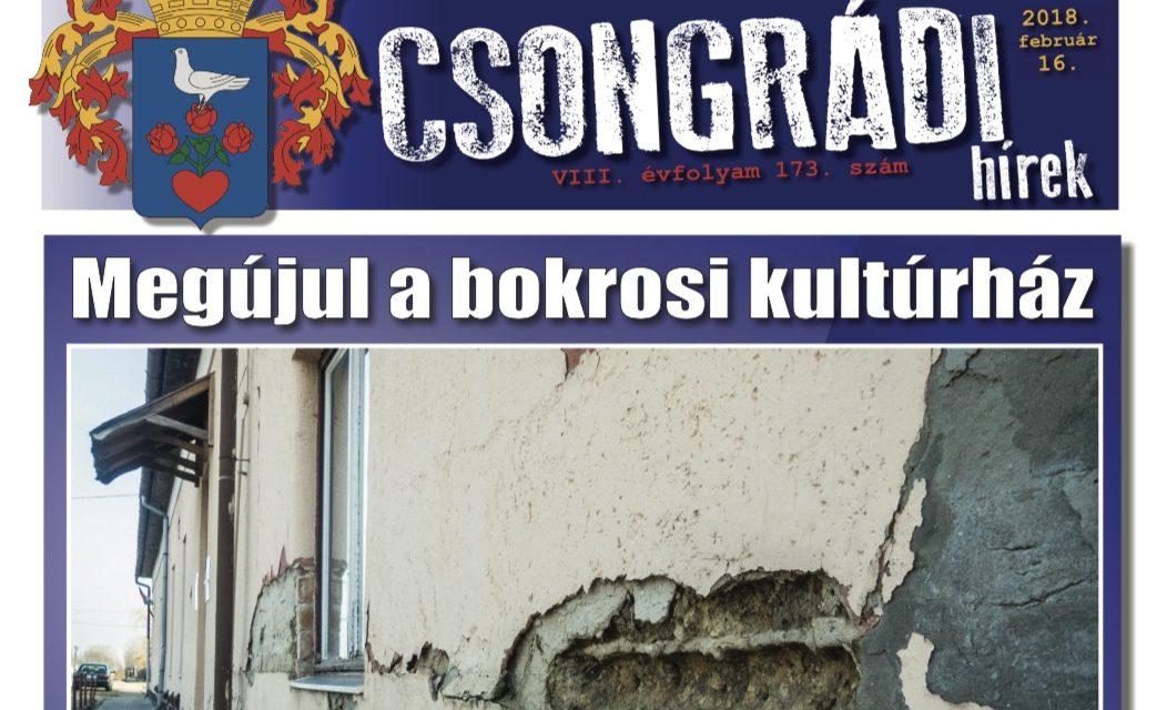 Megtekinthető a Csongrádi Hírek legújabb, február 16-án megjelenő (173.) száma