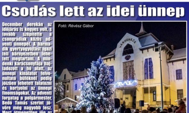 Megtekinthető a Csongrádi Hírek legújabb, december 21-én megjelenő (194.) száma