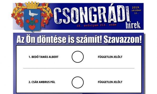 Megtekinthető a Csongrádi Hírek legújabb, október 11-én megjelenő (214.) száma