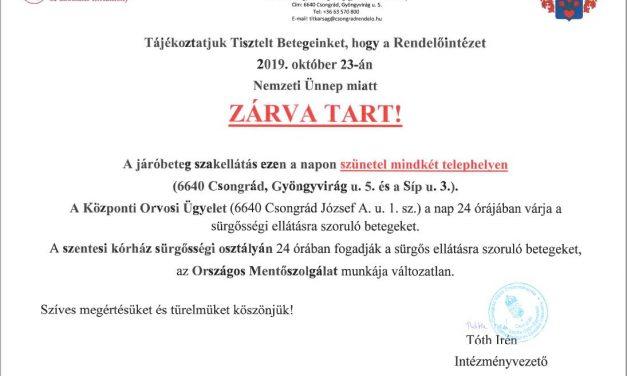 A Rendelőintézet október 23-án zárva tart