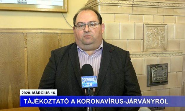 Bedő Tamás polgármester tájékoztatója a koronavírussal kapcsolatban – 2020.03.16.