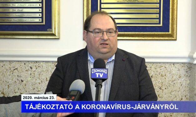 Bedő Tamás polgármester tájékoztatója a koronavírussal kapcsolatban – 2020.03.23.