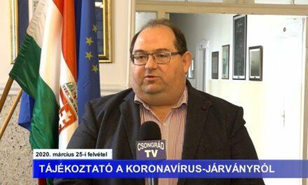 Bedő Tamás polgármester tájékoztatója a koronavírussal kapcsolatban – 2020.03.25.