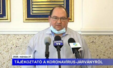 Bedő Tamás polgármester tájékoztatója a koronavírusról – 2020.03.27.