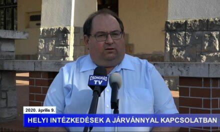 Bedő Tamás polgármester tájékoztatója a koronavírusról – 2020.04.09.