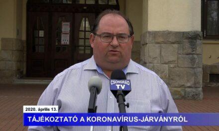 Bedő Tamás polgármester tájékoztatója a koronavírusról – 2020.04.13.