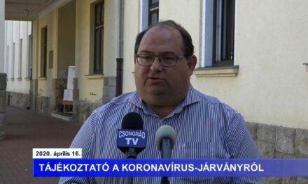 Bedő Tamás polgármester tájékoztatója a koronavírusról – 2020.04.16.
