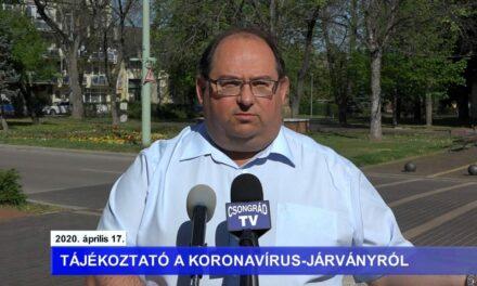 Bedő Tamás polgármester tájékoztatója a koronavírusról – 2020.04.17.