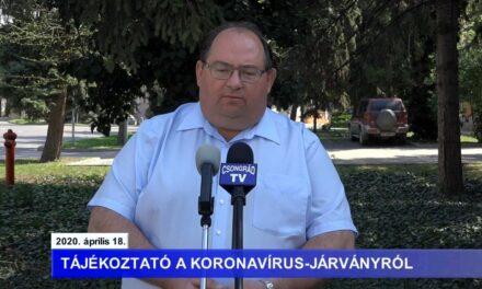 Bedő Tamás polgármester tájékoztatója a koronavírusról – 2020.04.18.