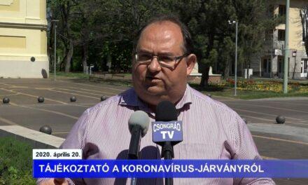 Bedő Tamás polgármester tájékoztatója a koronavírusról – 2020.04.20.