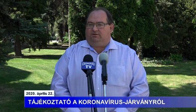 Bedő Tamás polgármester tájékoztatója a koronavírusról – 2020.04.22.