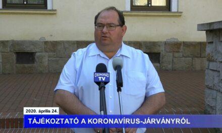 Bedő Tamás polgármester tájékoztatója a koronavírusról – 2020.04.24.
