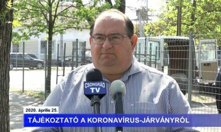 Bedő Tamás polgármester tájékoztatója a koronavírusról – 2020.04.25.