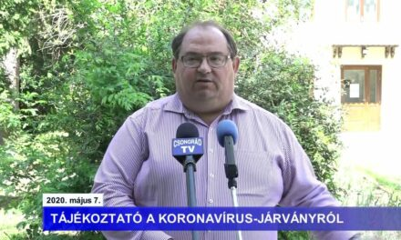 Bedő Tamás polgármester tájékoztatója a koronavírusról – 2020.05.07.