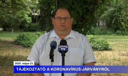 Bedő Tamás polgármester tájékoztatója a koronavírusról – 2020.05.23.