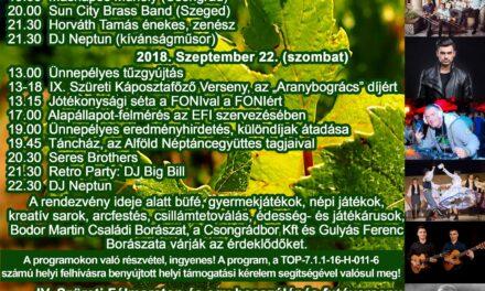 Szüreti Hétvége 2018. szeptember 21-22-23.