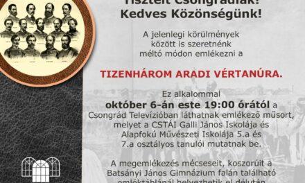Az Aradi Vértanúkra Emlékezünk!